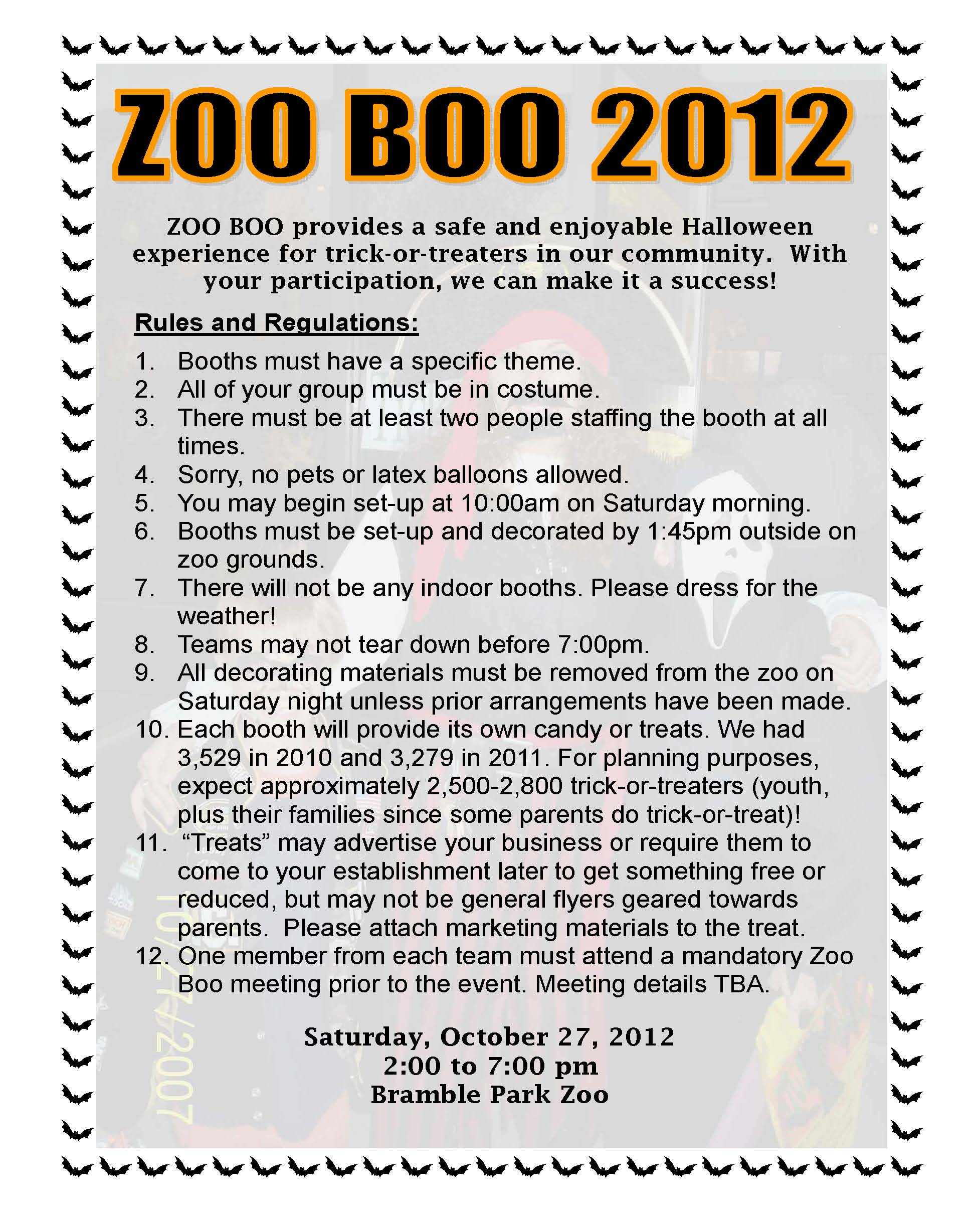Zoo Boo 2012 Info & Rules